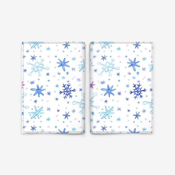 """Обложка для паспорта «Паттерн """"Акварельные снежинки""""»"""