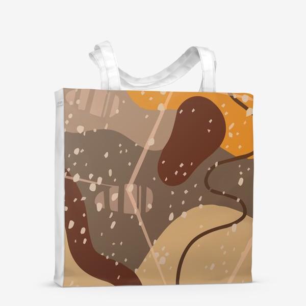 Сумка-шоппер «Модный абстрактный узор в коричневых тонах пятнами, овалами, точками, линиями »