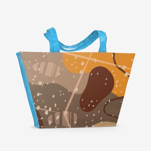 Пляжная сумка «Модный абстрактный узор в коричневых тонах пятнами, овалами, точками, линиями »