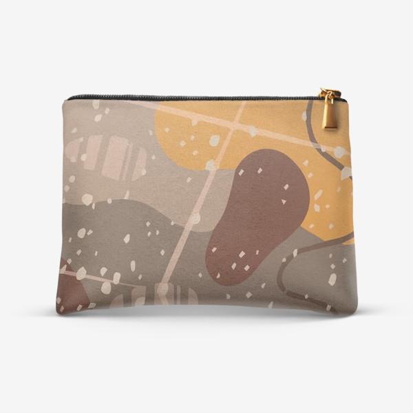 Косметичка «Модный абстрактный узор в коричневых тонах пятнами, овалами, точками, линиями »
