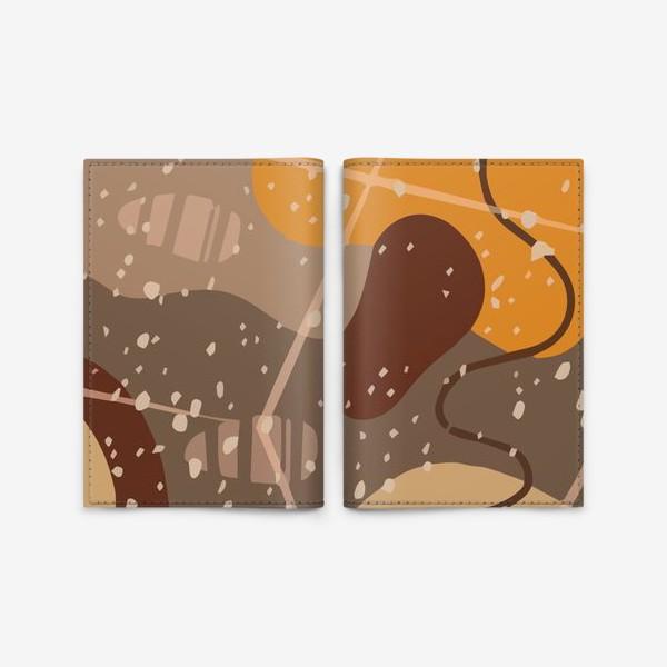 Обложка для паспорта «Модный абстрактный узор в коричневых тонах пятнами, овалами, точками, линиями »