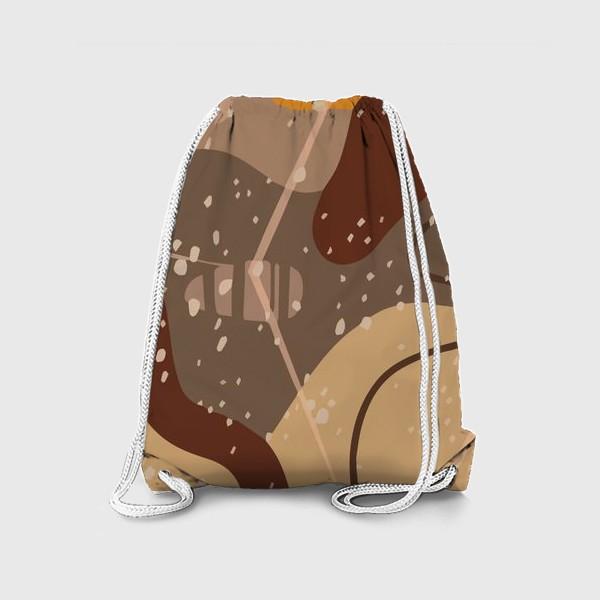 Рюкзак «Модный абстрактный узор в коричневых тонах пятнами, овалами, точками, линиями »