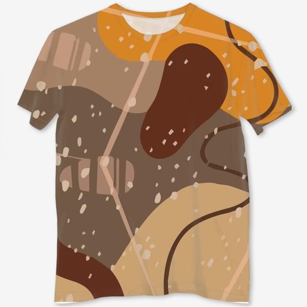Футболка с полной запечаткой «Модный абстрактный узор в коричневых тонах пятнами, овалами, точками, линиями »