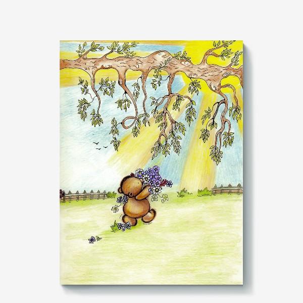 Холст «Мишка с цветами»