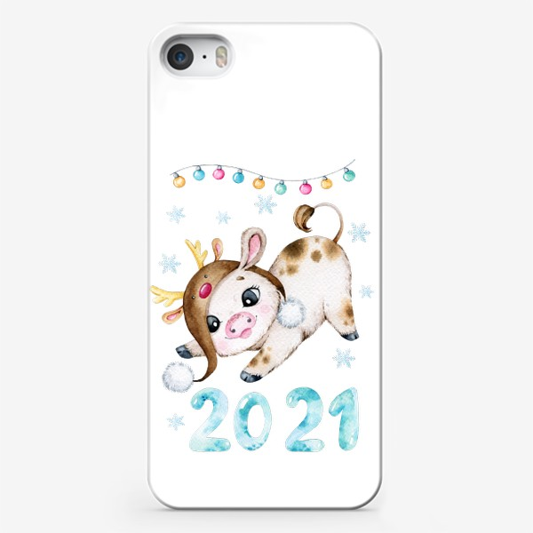 Чехол iPhone «Новогодний Бычок 2021»