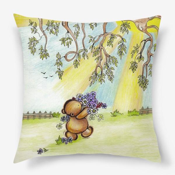 Подушка «Мишка с цветами»