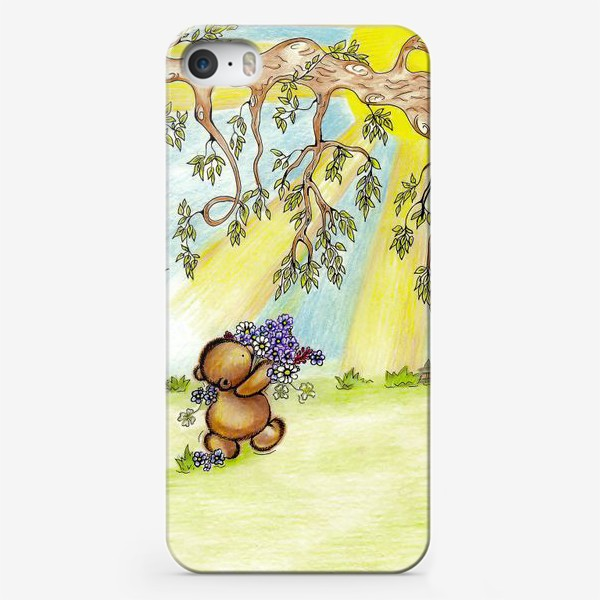 Чехол iPhone «Мишка с цветами»