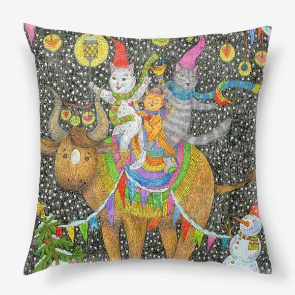 Подушка «Год быка и веселые котики»