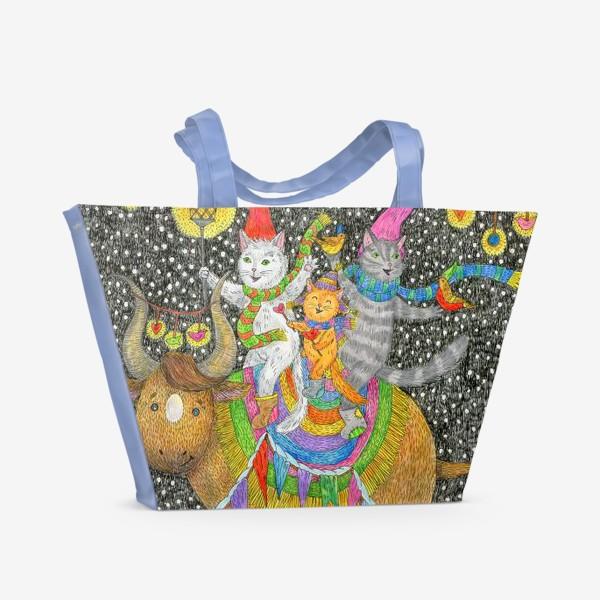 Пляжная сумка «Год быка и веселые котики»