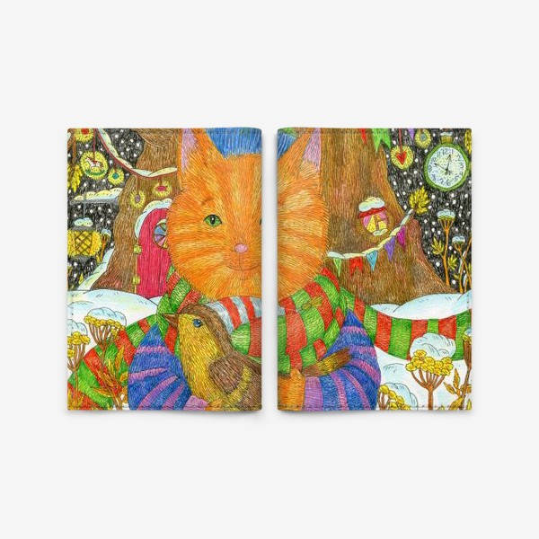 Обложка для паспорта «Милый рыжий кот в Новый год»