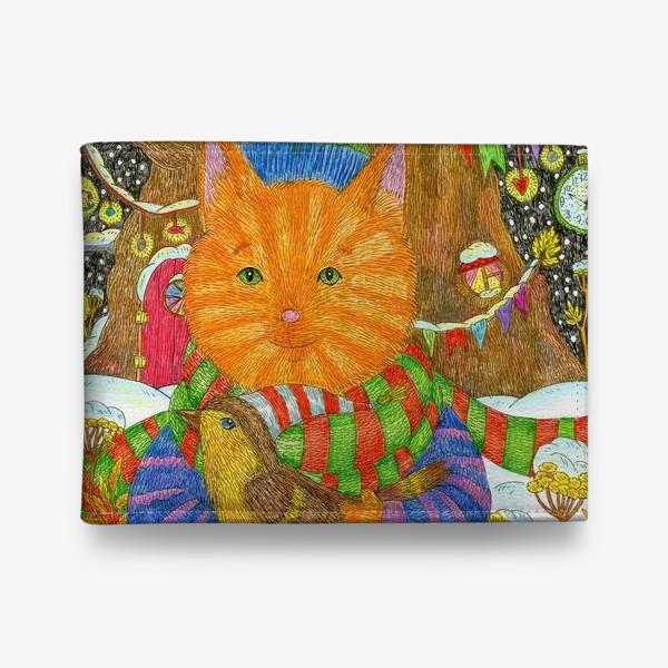 Кошелек «Милый рыжий кот в Новый год»