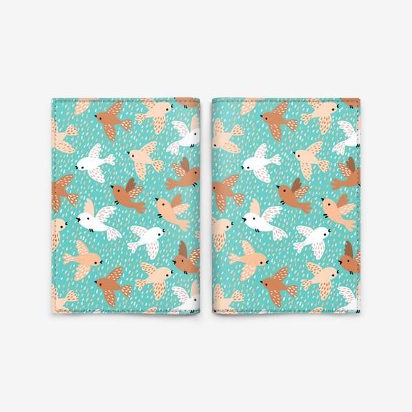 Обложка для паспорта «Милые птички на голубом фоне»