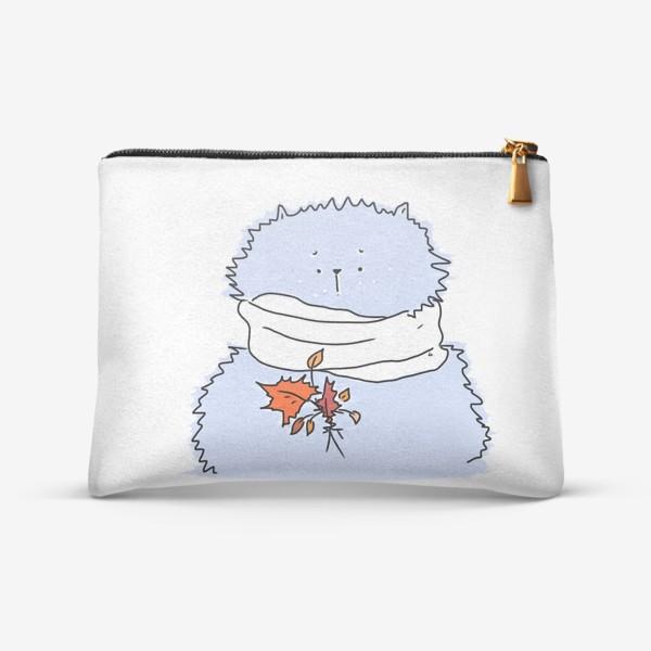 Косметичка «Осенний морозный кот с листиками»