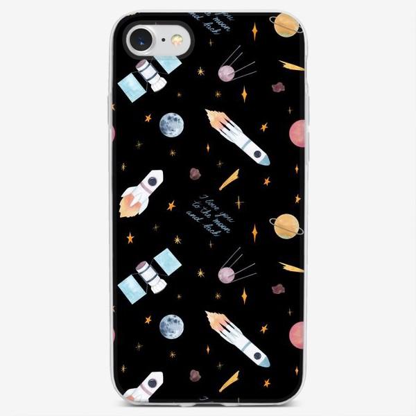 Чехол iPhone «Я люблю тебя до Луны и обратно, космический акварельный принт на черном фоне»
