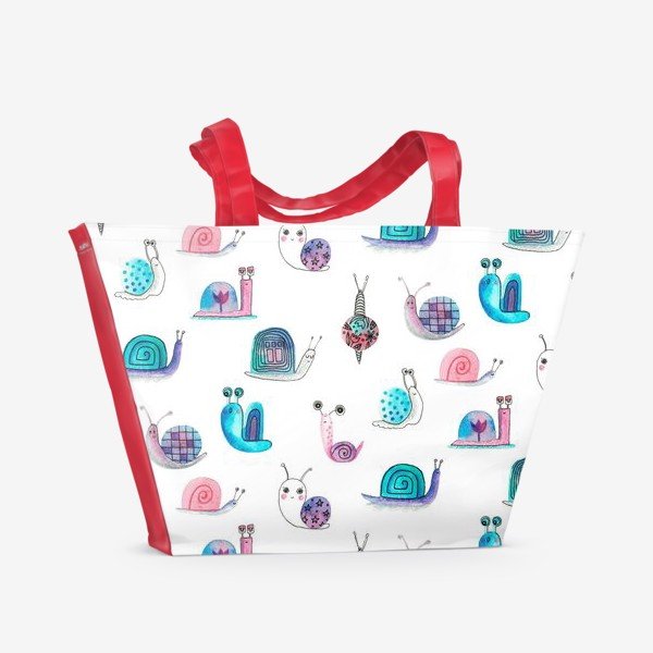 Пляжная сумка «Милашки улитки, акварельные»