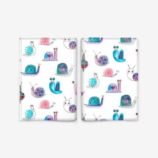 Обложка для паспорта «Милашки улитки, акварельные»