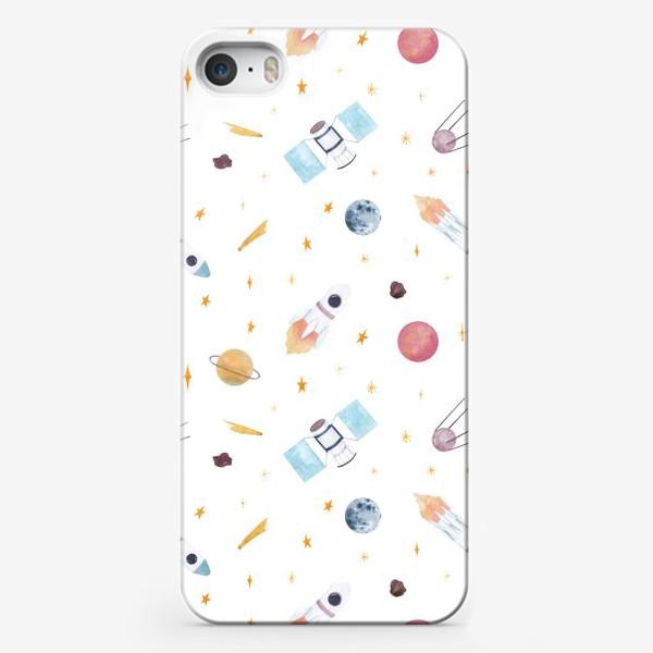 Чехол iPhone «Космические ракеты, спутники, планеты, акварельный принт на белом фоне»