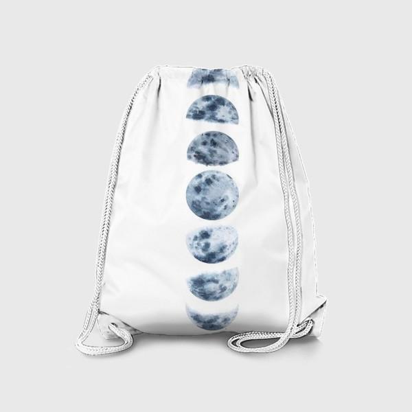 Рюкзак «Фазы луны, акварельный монохромный принт на белом фоне»