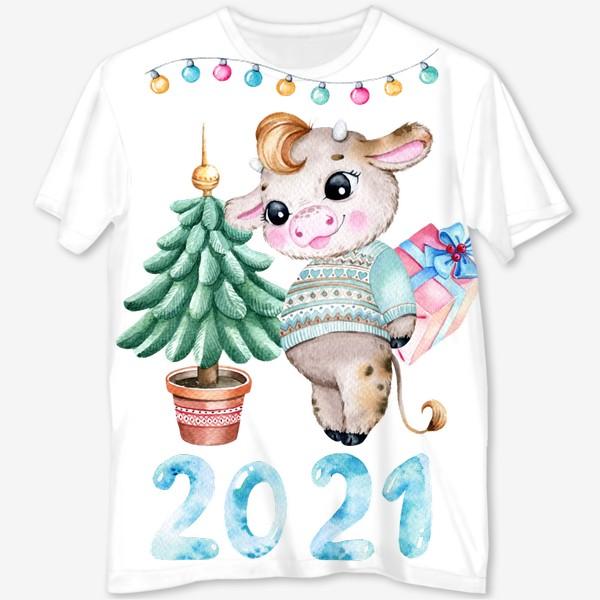 Футболка с полной запечаткой «С новым 2021 годом!»