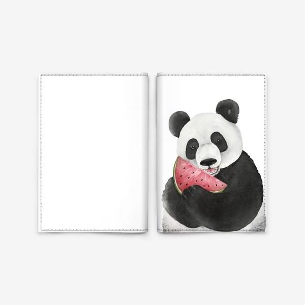 Обложка для паспорта «милый мишка панда с долькой арбуза »