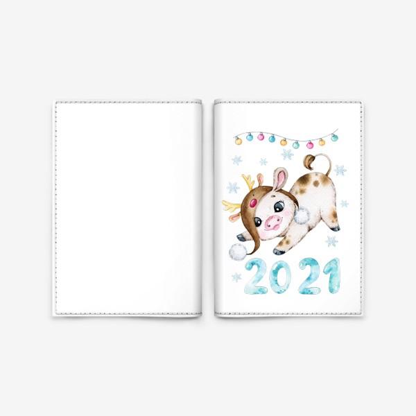 Обложка для паспорта «Новогодний Бычок 2021»