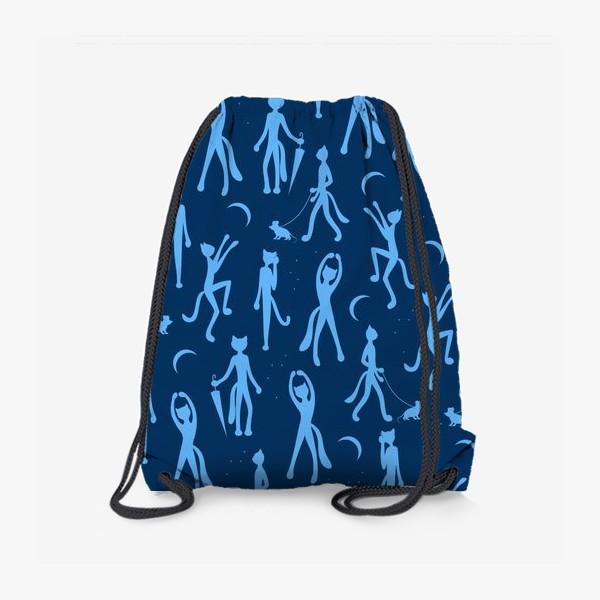 Рюкзак «Котики на прогулке паттерн»