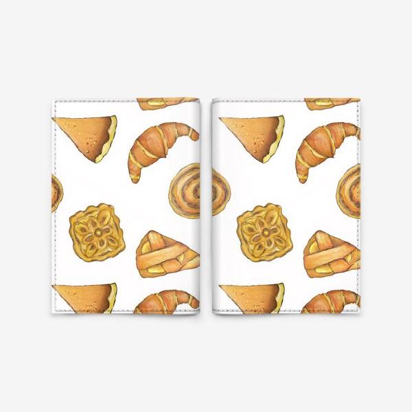 Обложка для паспорта « Выпечка на белом Булочки аппетитные Пироги и круассаны»