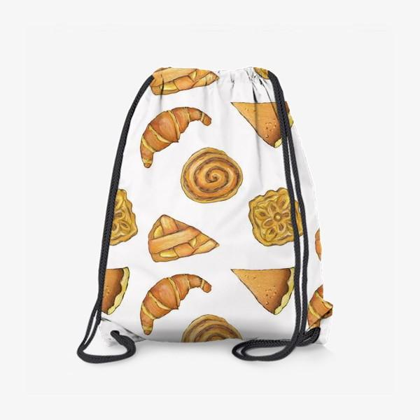 Рюкзак « Выпечка на белом Булочки аппетитные Пироги и круассаны»