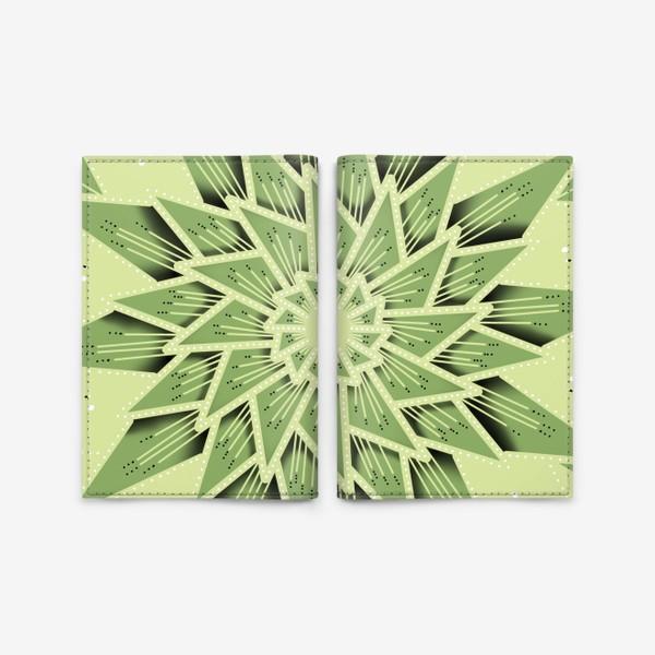 Обложка для паспорта «Абстракция, геометрия, оттенки зеленого »