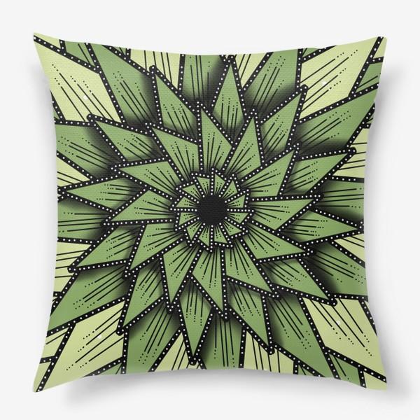 Подушка «Абстрактный цветок - алоэ, геометрия, оттенки зеленого»