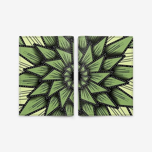 Обложка для паспорта «Абстрактный цветок - алоэ, геометрия, оттенки зеленого»