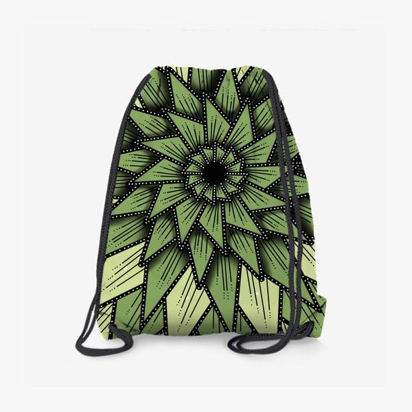 Рюкзак «Абстрактный цветок - алоэ, геометрия, оттенки зеленого»
