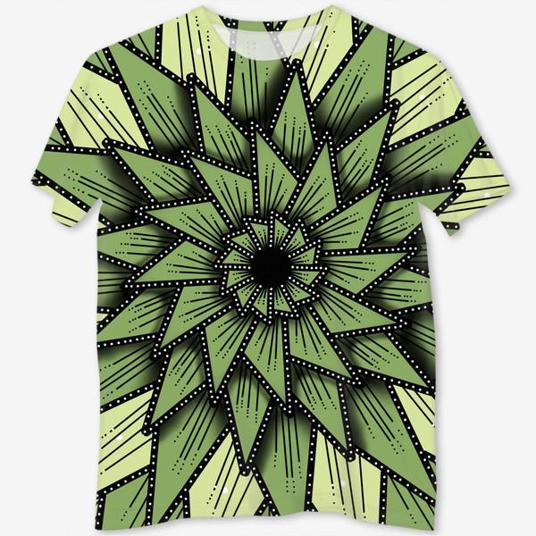 Футболка с полной запечаткой «Абстрактный цветок - алоэ, геометрия, оттенки зеленого»