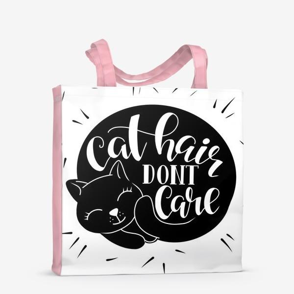 Сумка-шоппер «Cat hair don't care. леттеринг в силуэте котика»