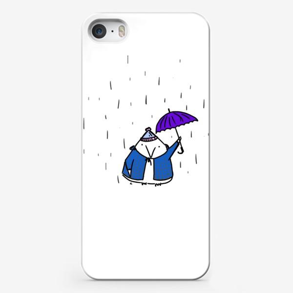 Чехол iPhone «Птичка под зонтиком. Осенний дождь»