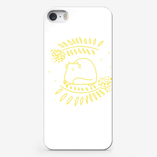 Чехол iPhone «Желтый рябиновый кот. Осень»