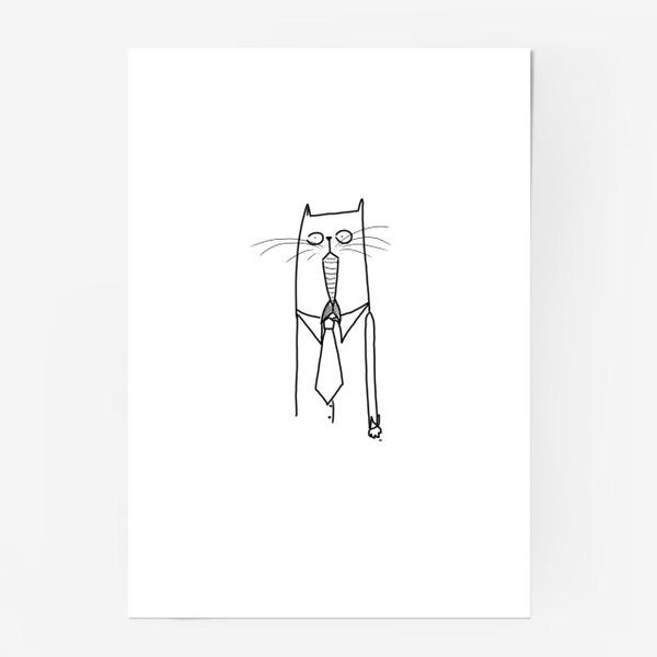 Постер «Деловой кот при галстуке»