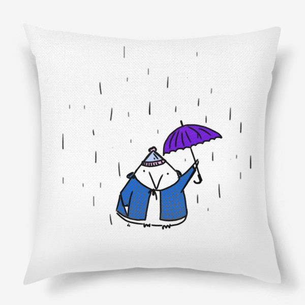 Подушка «Птичка под зонтиком. Осенний дождь»