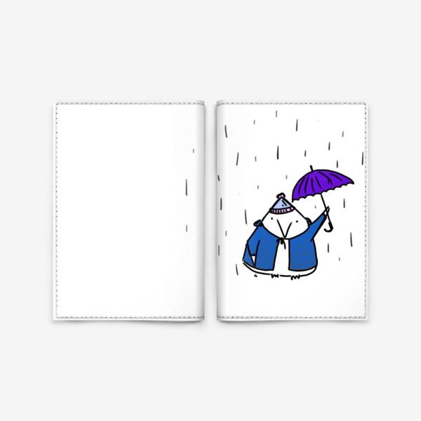 Обложка для паспорта «Птичка под зонтиком. Осенний дождь»