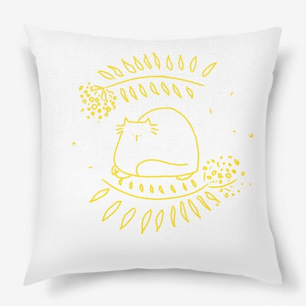 Подушка «Желтый рябиновый кот. Осень»
