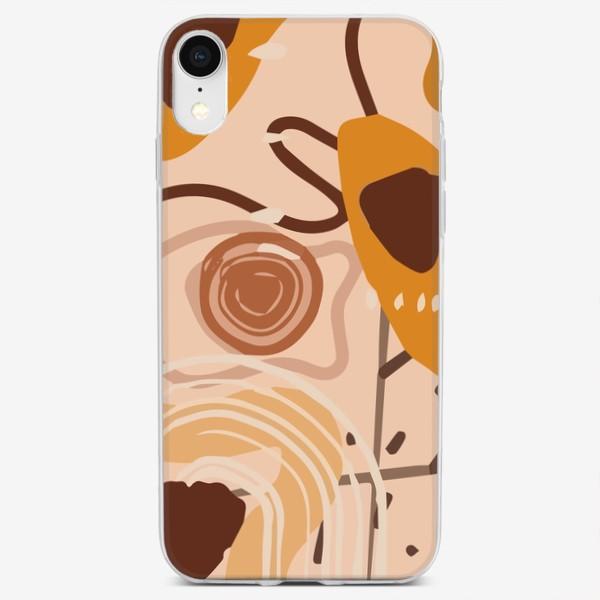 Чехол iPhone «Узор в стиле  Бохо. Современная абстракция. Бежевые пятна, овалы, круги, разводы»