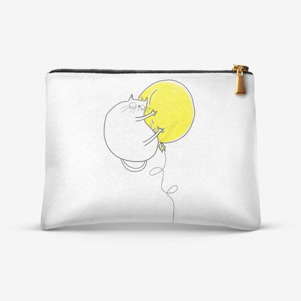 Косметичка «Кот на желтом воздушном шаре»
