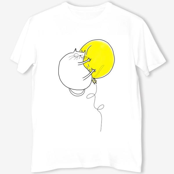 Футболка «Кот на желтом воздушном шаре»