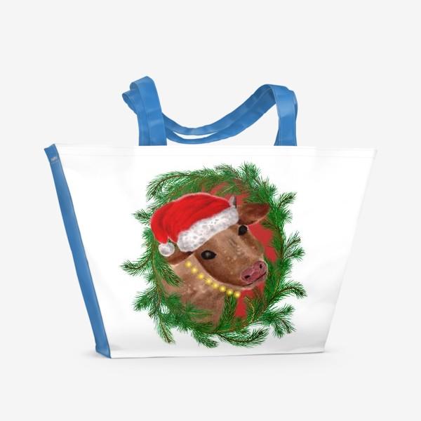 Пляжная сумка «Новогодняя буренка Алёнушка в шапке и бусах»