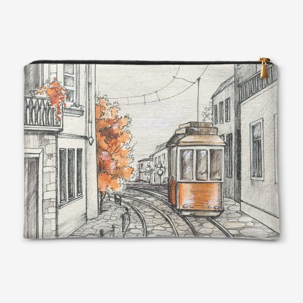 Косметичка «Акварельная иллюстрация осень в Лиссабоне»