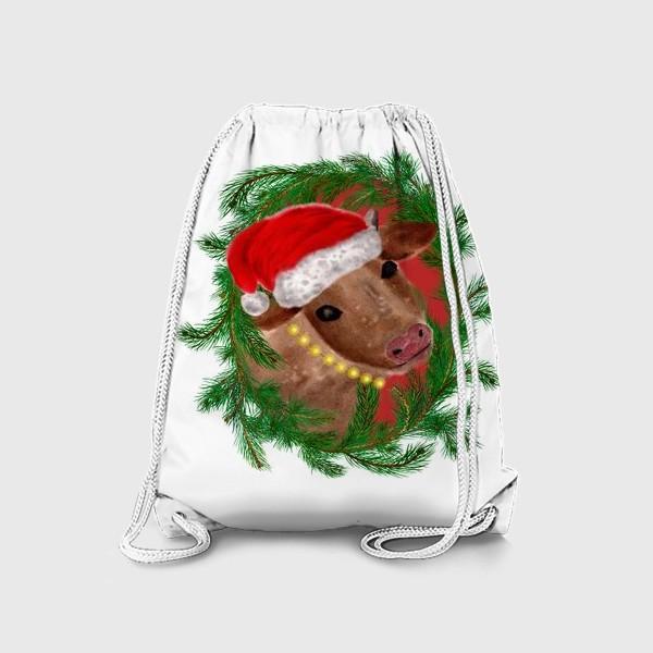 Рюкзак «Новогодняя буренка Алёнушка в шапке и бусах»