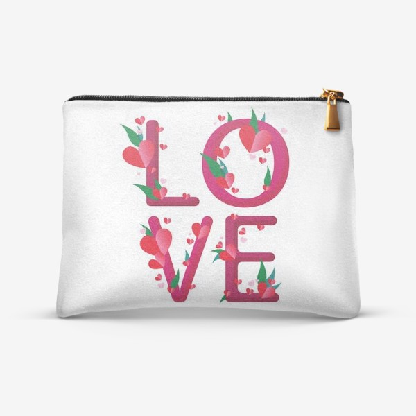 Косметичка «надпись LOVE и сердечки»