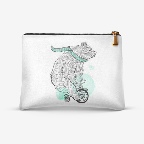 Косметичка «Медведь на велосипеде, медведь, мишка, велосипед»