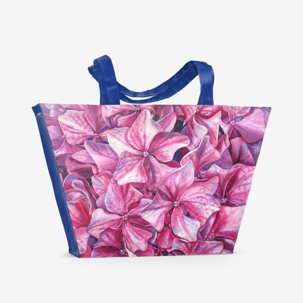 Пляжная сумка «In my garden. Pink hydrangea.»