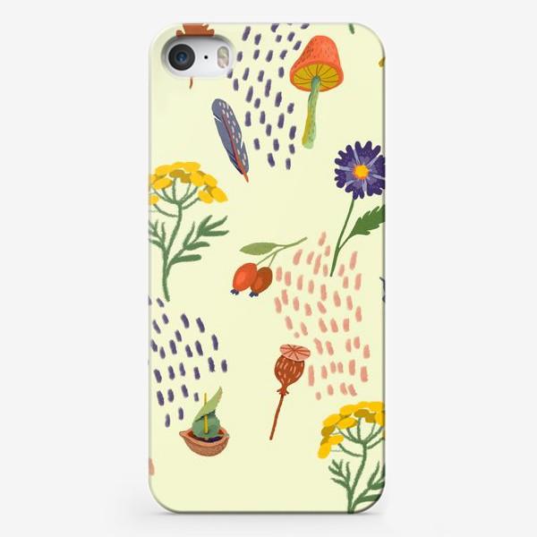 Чехол iPhone «Цветы, осенние листья, перья, желуди, орехи»